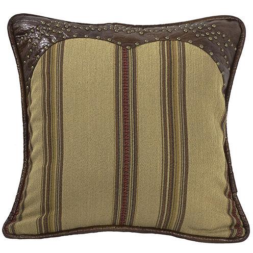 HiEnd Accents Ruidoso Faux-Leather Trimmed Square Striped Decorative Pillow