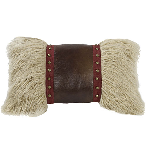 HiEnd Accents Ruidoso Faux-Fur Studded Oblong Decorative Pillow