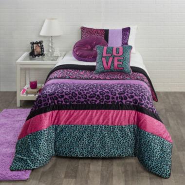 seventeen® pop cheetah comforter set & accessories - jcpenney