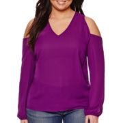 a.n.a® 3/4-Sleeve Cold-Shoulder Blouse - Plus
