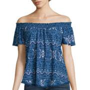 Self Esteem® Short-Sleeve Pom-Pom Smocked Top