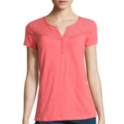 St. John's Bay® Short-Sleeve Lace-Yoke T-Shirt