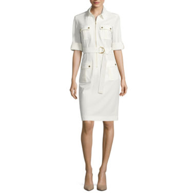 jcpenney.com | Sharagano Elbow Sleeve Shirt Dress