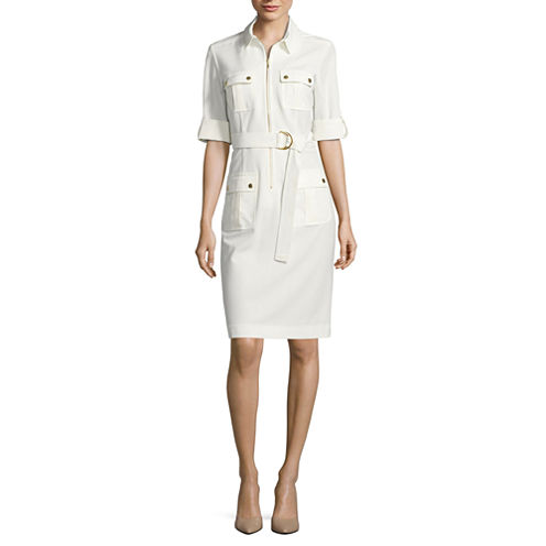 Sharagano Elbow Sleeve Shirt Dress