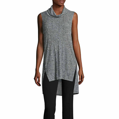 Worthington Sleeveless Turtleneck T-Shirt-Talls