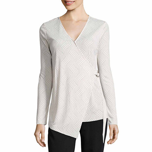 Worthington Long Sleeve V Neck T-Shirt-Womens Talls