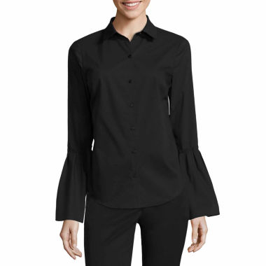 jcpenney.com | Worthington Short Sleeve Y Neck Woven Blouse-Talls