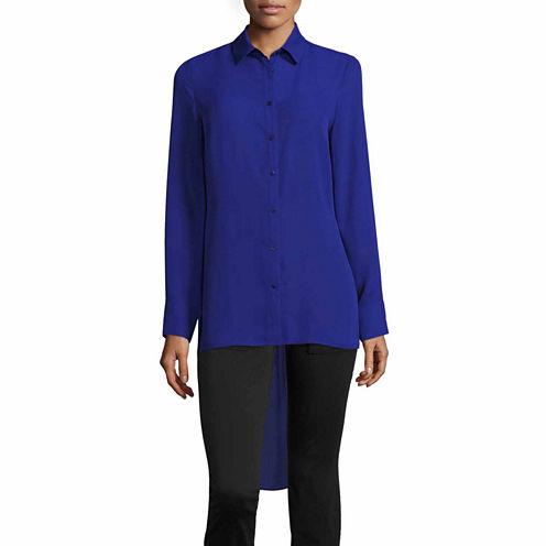 Worthington Long Sleeve Y Neck Woven Blouse-Talls