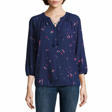 jcpenney.com | Liz Claiborne 3/4 Sleeve Floral Peasant Top Talls