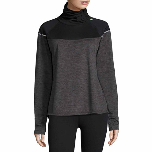 Xersion Long Sleeve Mock Neck T-Shirt-Womens Talls