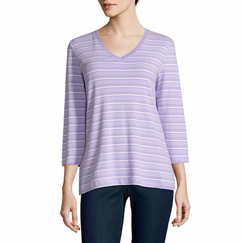 St. John`S Bay 3/4 Sleeve V Neck T-Shirt-Talls
