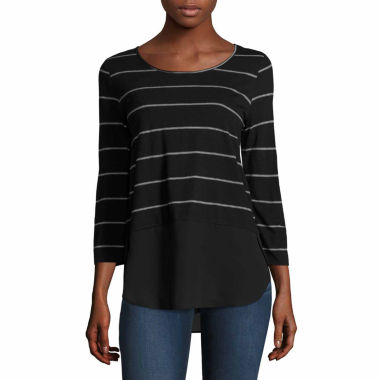 jcpenney.com | a.n.a 3/4 Sleeve Scoop Neck T-Shirt-Talls