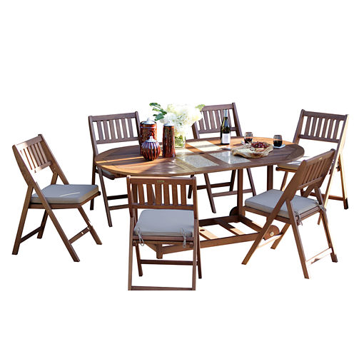 Outdoor Interiors 7pc Eucalyptus Fold and Store Dining Set with Granite Inlays