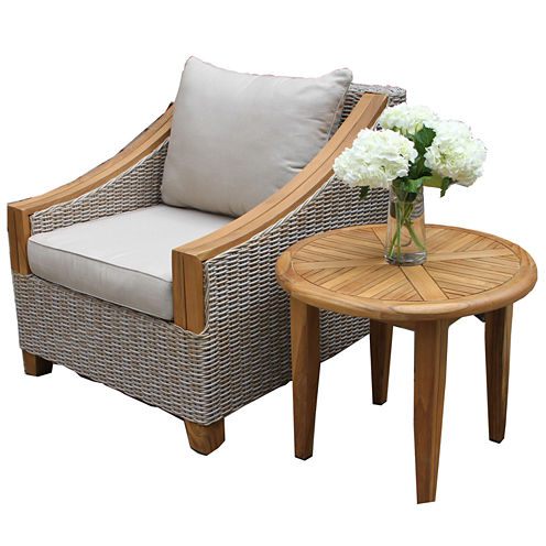 Outdoor Interiors Wicker and Natural Teak Arm Chair with Sunbrella Pillow and Cushion