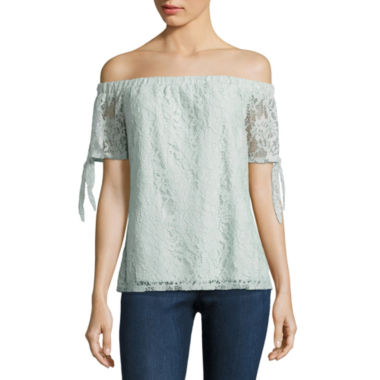 jcpenney.com | Society Girl Short Sleeve Lace Blouse-Juniors