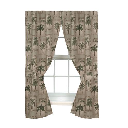Kimlor Palm Grove Rod Pocket Lined Curtains -Tiebacks 84In Panel Pair