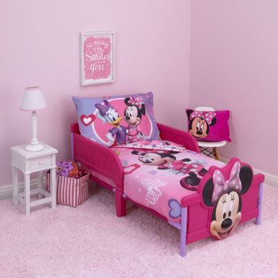 disney minnie mouse hearts and bows 4 pc toddler bedding set - Toddler Bedding Set