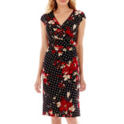 Black Label by Evan-Picone Cap-Sleeve Floral-and-Dot Print Dress