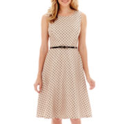 Black Label by Evan-Picone Sleeveless Belted Polka Dot Dress