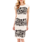 R&K Originals® Cap-Sleeve Lace-Print Scuba Sheath Dress