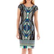 R&K Originals® Cap-Sleeve Aztec Print Shift Dress