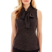 Black Label by Evan-Picone Sleeveless Star Print Blouse