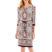 Liz Claiborne® 3/4-Sleeve Keyhole Knit Dress