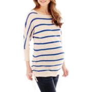 Maternity 3/4-Sleeve Neon Striped Drawstring Tee