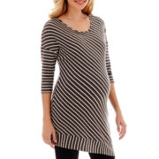 Maternity Elbow-Sleeve Striped Asymmetrical Hem Sweater - Plus