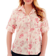 St. John's Bay® Roll-Sleeve Campshirt - Plus