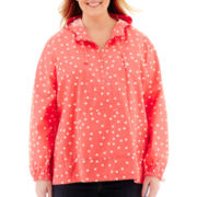 St. John's Bay® Polka Dot Popover Anorak Jacket - Plus