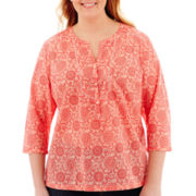 St. John's Bay® 3/4-Sleeve Print Peasant Top - Plus