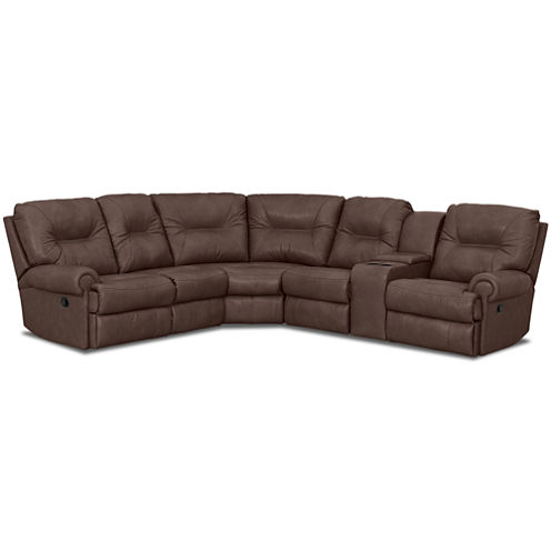 Brinkley 5-pc. Leather Power-Reclining Motion Sectional