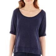 Olsenboye® Raglan-Sleeve High-Low Hatchi Sweater