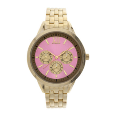 jcpenney.com | Womens Pink Dial Gold-Tone Bracelet Watch