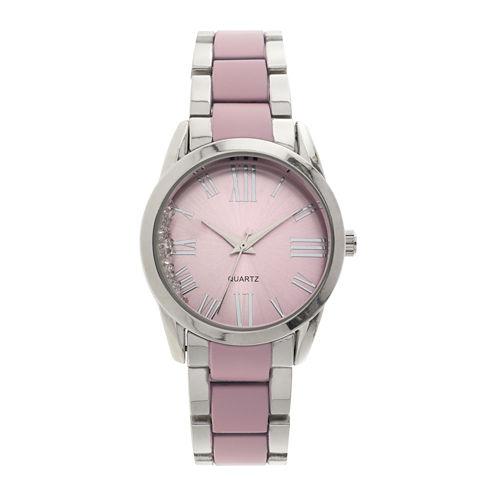 Womens Pink Dial Silver-Tone Bracelet Watch