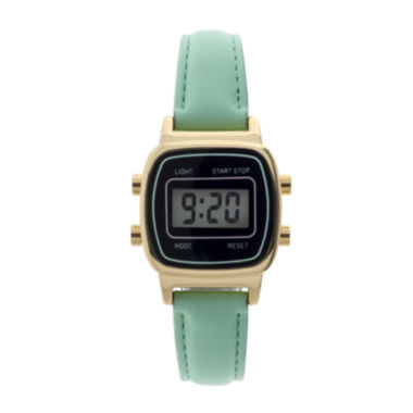 jcpenney.com | Womens Square Dial Green Strap Digital Watch