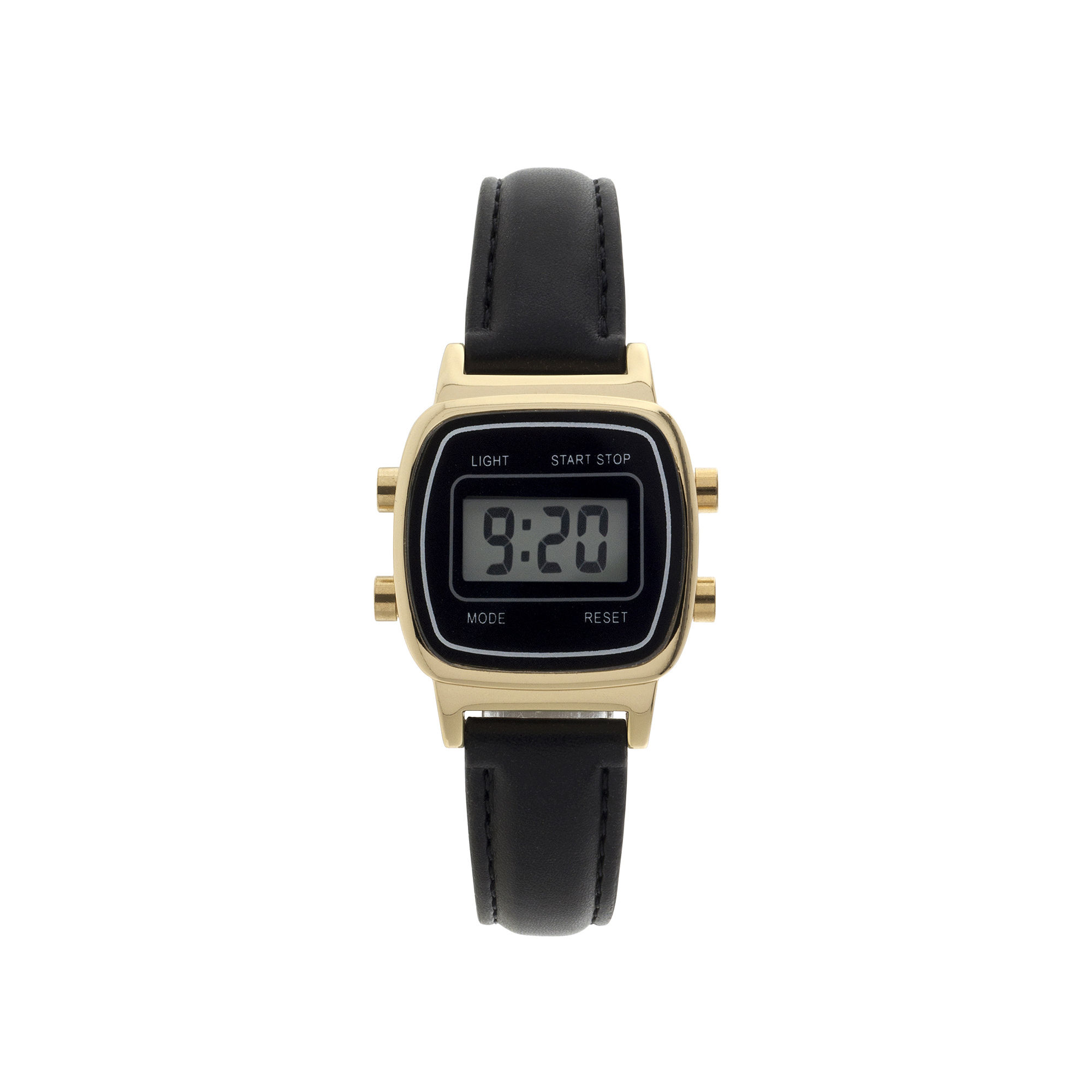 Womens Square Dial Black Strap Digital Watch
