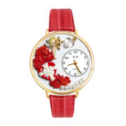 Whimsical Watches Personalized Valentine's Day Womens Gold-Tone Bezel Red Leather Strap Watch