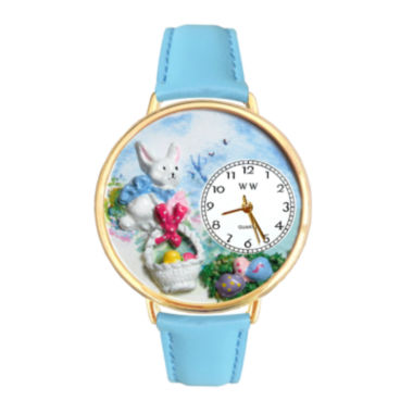 jcpenney.com | Whimsical Watches Personalized Easter Egg Womens Gold-Tone Bezel Light Blue Leather Strap Watch