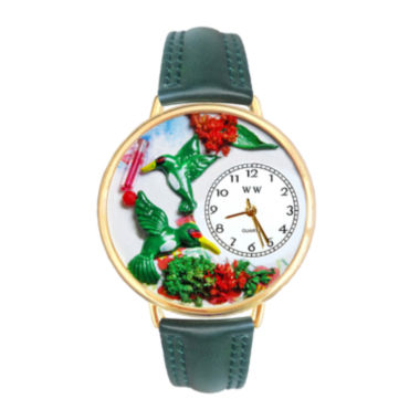 jcpenney.com | Whimsical Watches Personalized Hummingbird Womens Gold-Tone Bezel Green Leather Strap Watch