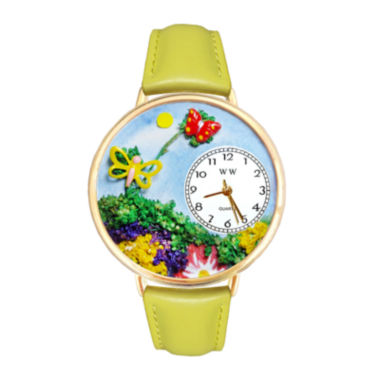 jcpenney.com | Whimsical Watches Personalized Butterfly Womens Gold-Tone Bezel Yellow Leather Strap Watch