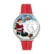 Whimsical Watches Personalized Christmas Santa Claus Womens Silver-Tone Bezel Red Leather Strap Watch