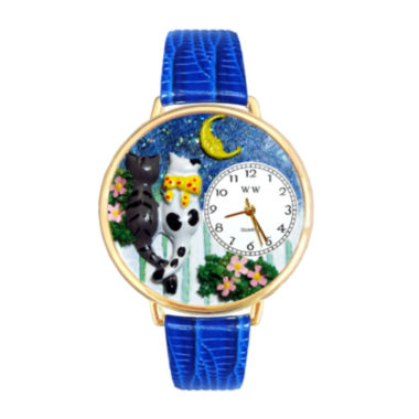 jcpenney.com | Whimsical Watches Personalized Cat Night Out Womens Gold-Tone Bezel Blue Leather Strap Watch