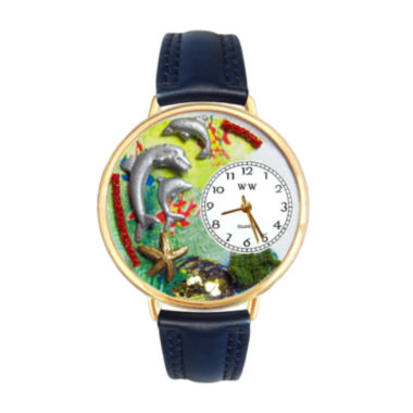 jcpenney.com | Whimsical Watches Personalized Dolphin Womens Gold-Tone Bezel Blue Leather Strap Watch