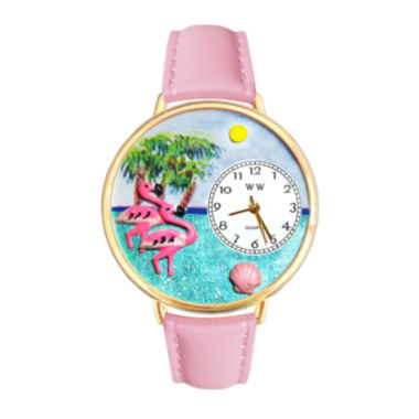 jcpenney.com | Whimsical Watches Personalized Flamingo Womens Gold-Tone Bezel Pink Leather Strap Watch