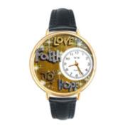 Whimsical Watches Personalized Faith and Love Womens Gold–Tone Bezel Black Leather Strap Watch