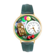 Whimsical Watches Personalized Casino Womens Gold–Tone Bezel Green Leather Strap Watch