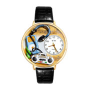 Whimsical Watches Personalized Music Lover Womens Gold–Tone Bezel Black Leather Strap Watch