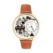 Whimsical Watches Personalized Piano Music Womens Gold–Tone Bezel Tan Leather Strap Watch